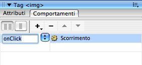 Evento onclick pannello comportamenti dreamweaver cs3