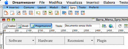 Modifica menu spry dreamweaver cs3